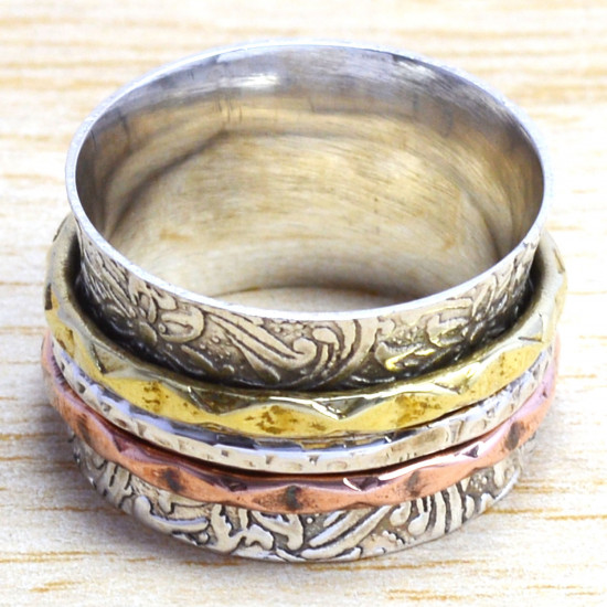 925 Sterling Silver And Brass Jewelry Beautiful Handmade Ring SJWR-1