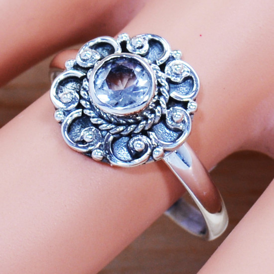 925 Sterling Silver Traditional Jewelry Crystal Gemstone Stylish Ring SJWR-1010