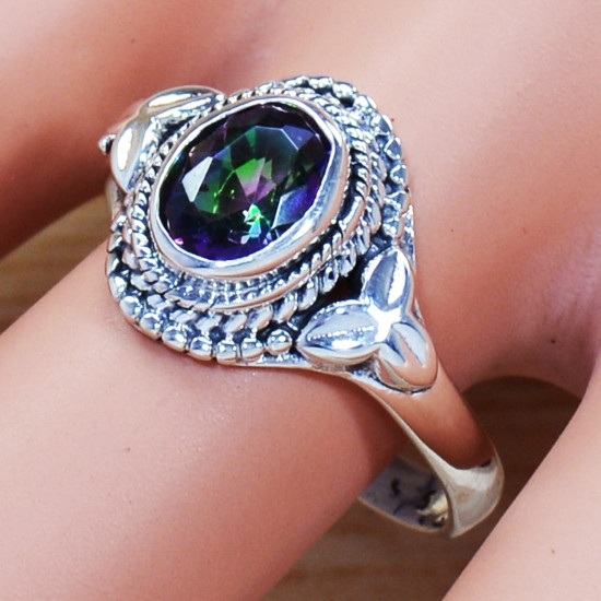 925 Sterling Silver Mystic Topaz Gemstone Antique Look Jewelry Ring SJWR-1024
