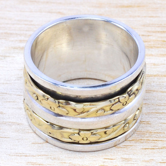 925 Sterling Silver And Brass Jewelry Wholesale Finger Ring SJWR-28
