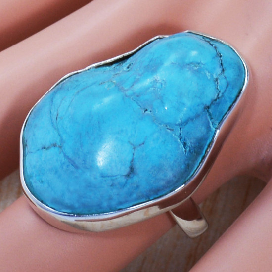 925 Sterling Silver Stylish Jewelry Rough Turquoise Gemstone Ring SJWR-741