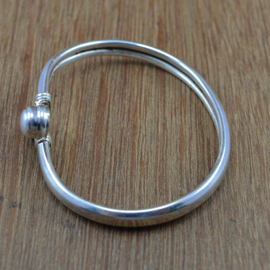 925 Sterling Silver Pearl Gemstone Wholesale Jewelry Bangles Free Size WB-4284