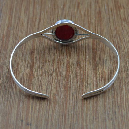 925 Sterling Silver Hydro Ruby Gemstone Jewelry Wholesale Bangles Free Size WB-4290