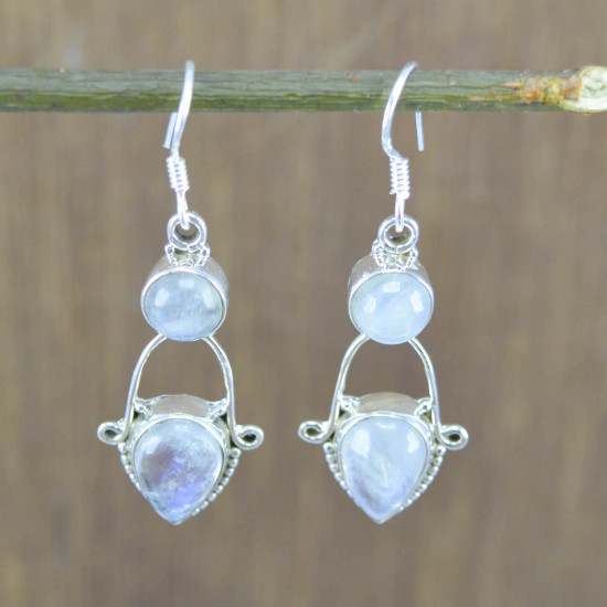 925 Sterling Solid Silver Wholesale Jewelry Rainbow Moonstone Earring WE-3460