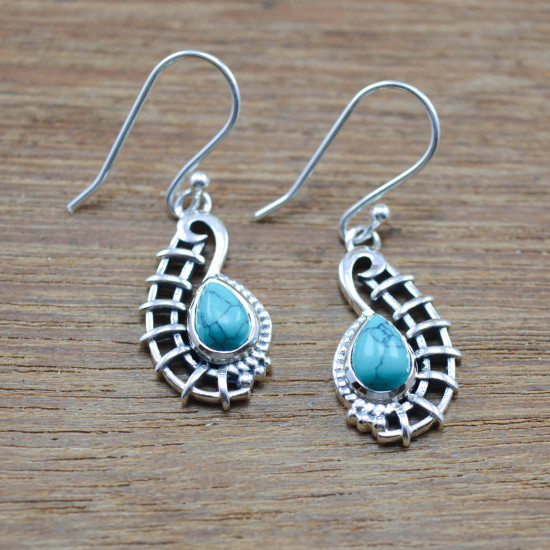925 Solid Silver Jewelry Unique Turquoise Gemstone Wholesale Earring WE-4139