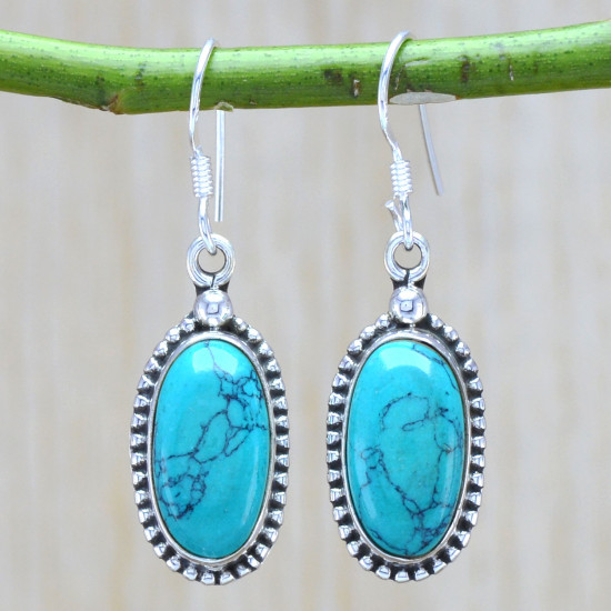 925 solid sterling silver new beautiful turquoise gemstone earring WE-6268