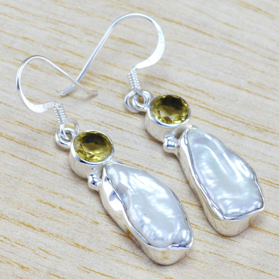 925 sterling silver jewelry pearl and citrine gemstone earring WE-6452