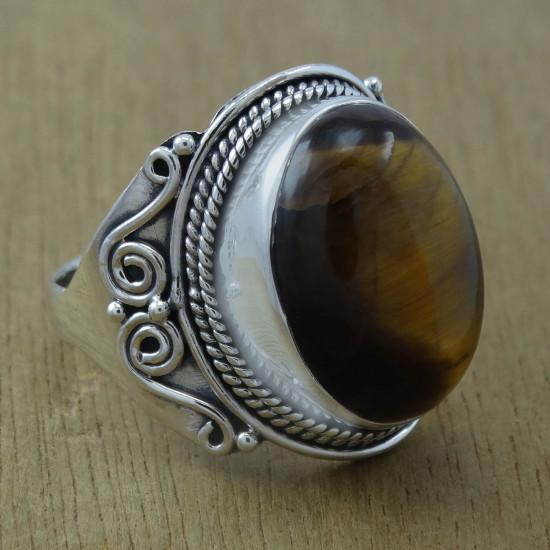 925 Sterling Silver Indian Designer Tiger Eye Gemstone Finger Ring