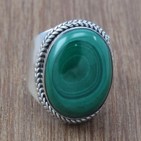 925 Sterling Silver Malachite Gemstone Indian Jewelry Wholesale Ring WR-1317