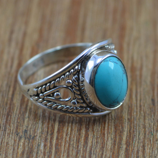 925 Sterling Silver Turquoise Gemstone Wholesale Jewelry Royal Ring Size 7 WR-4174