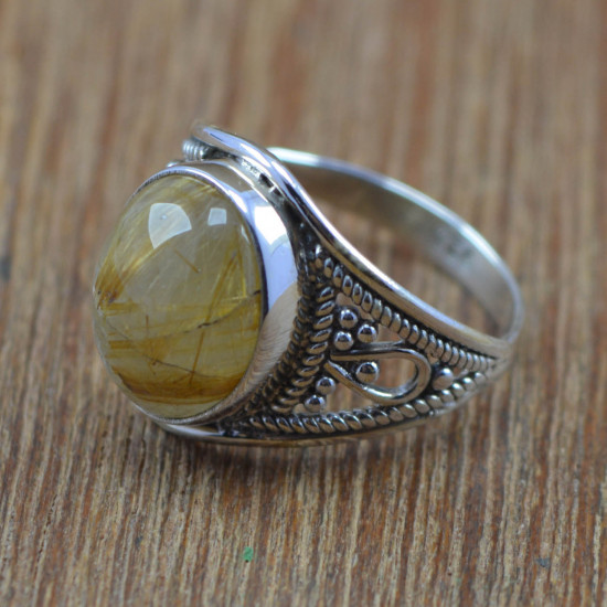 925 Sterling Silver Jewelry Golden Rutile Gemstone Wholesale Ring