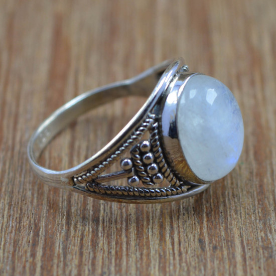 925 Sterling Silver Wholesale Rainbow Moonstone Gemstone Jewelry Ring Size 8 WR-4223