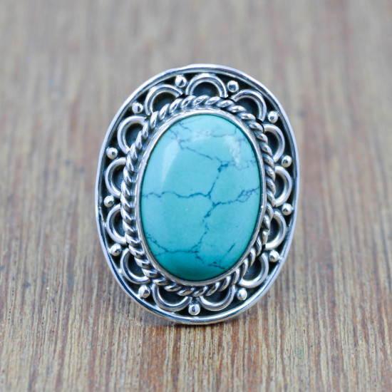 925 sterling silver ring turquoise gemstone handmade jewelry WR-4474
