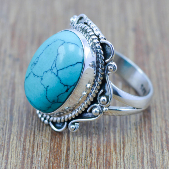 925 sterling silver fine jewelry ring nice turquoise gemstone WR-4482