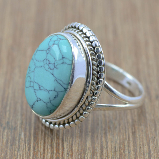 925 sterling silver handmade indian jewelry turquoise gemstone ring WR-4598
