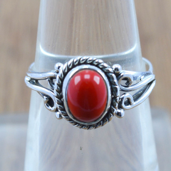 925 sterling silver jewelry coral gemstone wholesale ring WR-5020