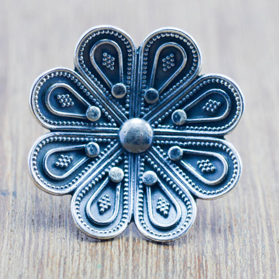 925 sterling silver flower design jewelry plain adjustable ring WR-5608