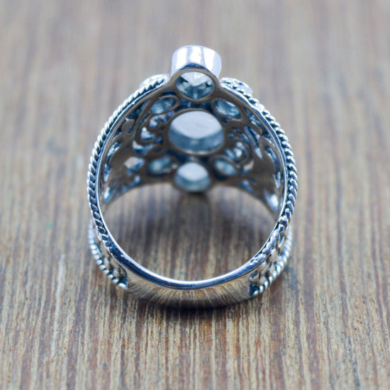 925 sterling silver jewelry rainbow moonstone wholesale royal ring WR-5946