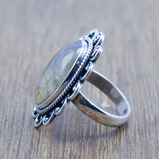 925 sterling silver handmade jewelry golden rutile gemstone new ring WR-6149